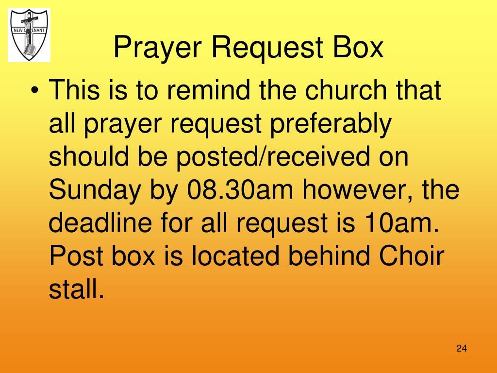 Prayer Request Box