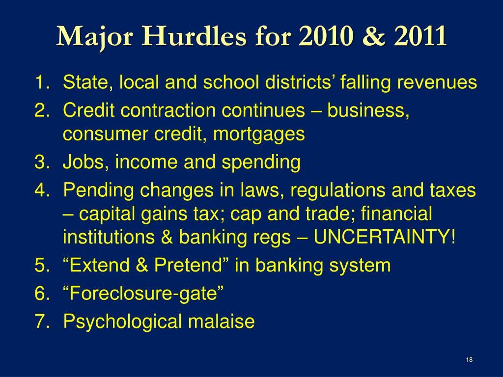 Major Hurdles for 2010 & 2011