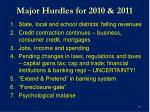 major hurdles for 2010 2011