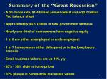 summary of the great recession