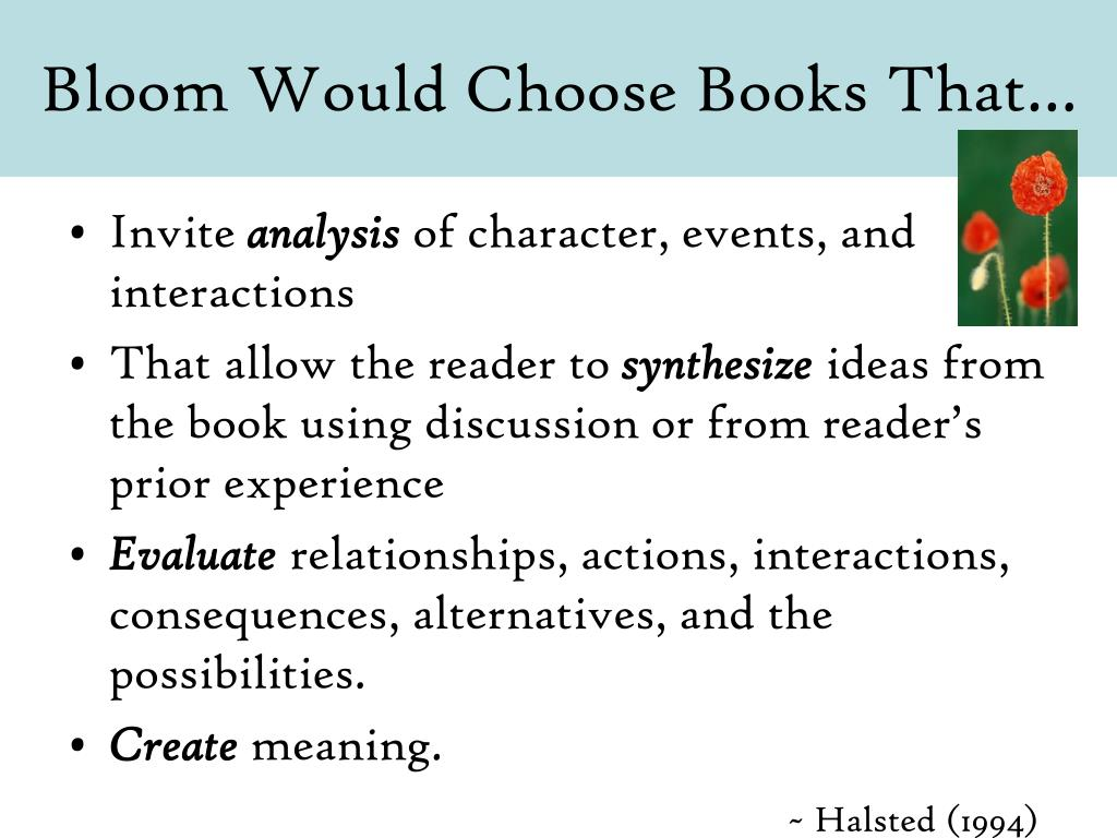 Bloom Would Choose Books That…