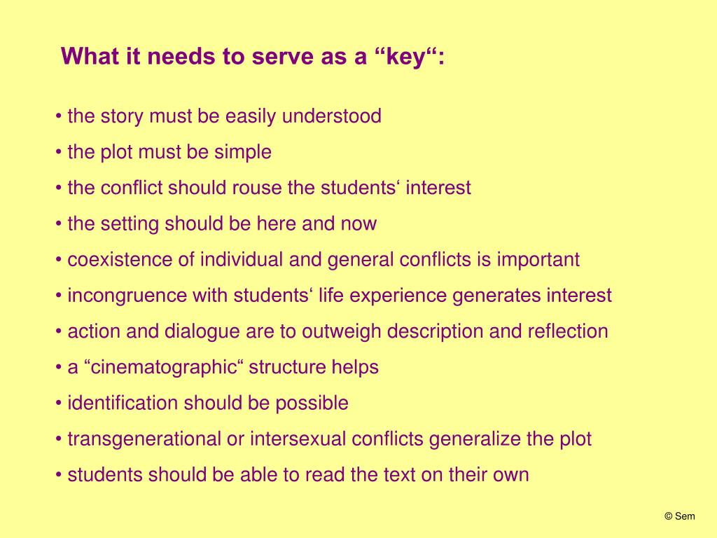 "What it needs to serve as a ""key"":"