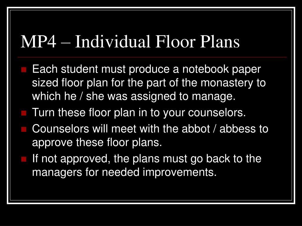 MP4 – Individual Floor Plans