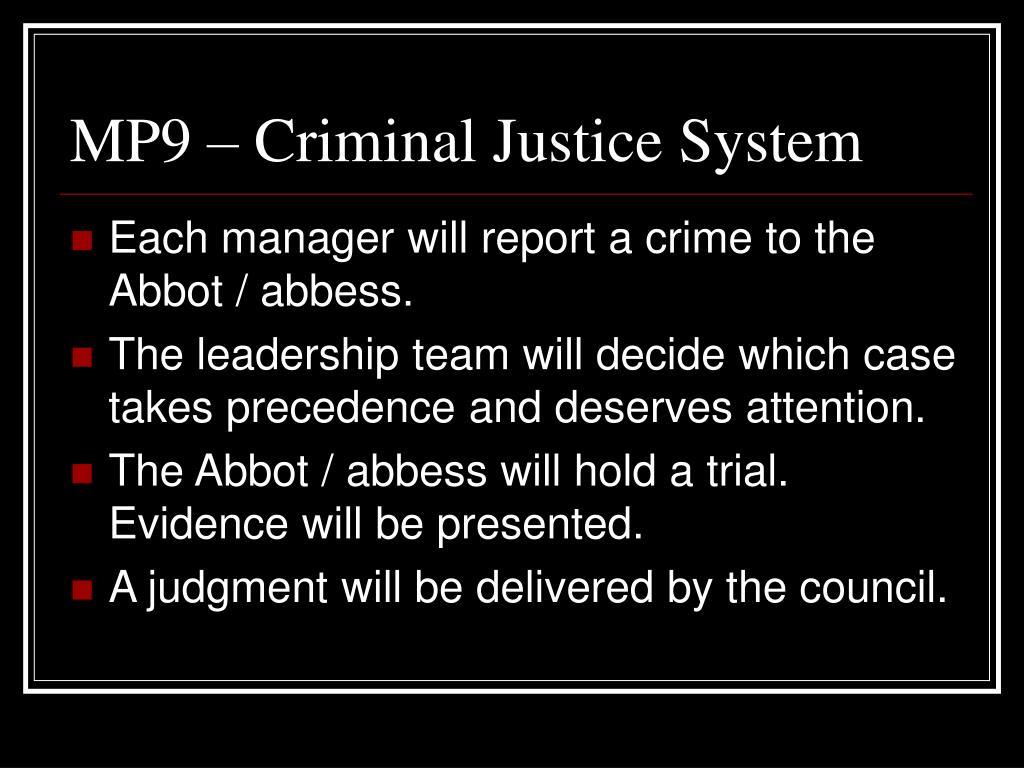 MP9 – Criminal Justice System