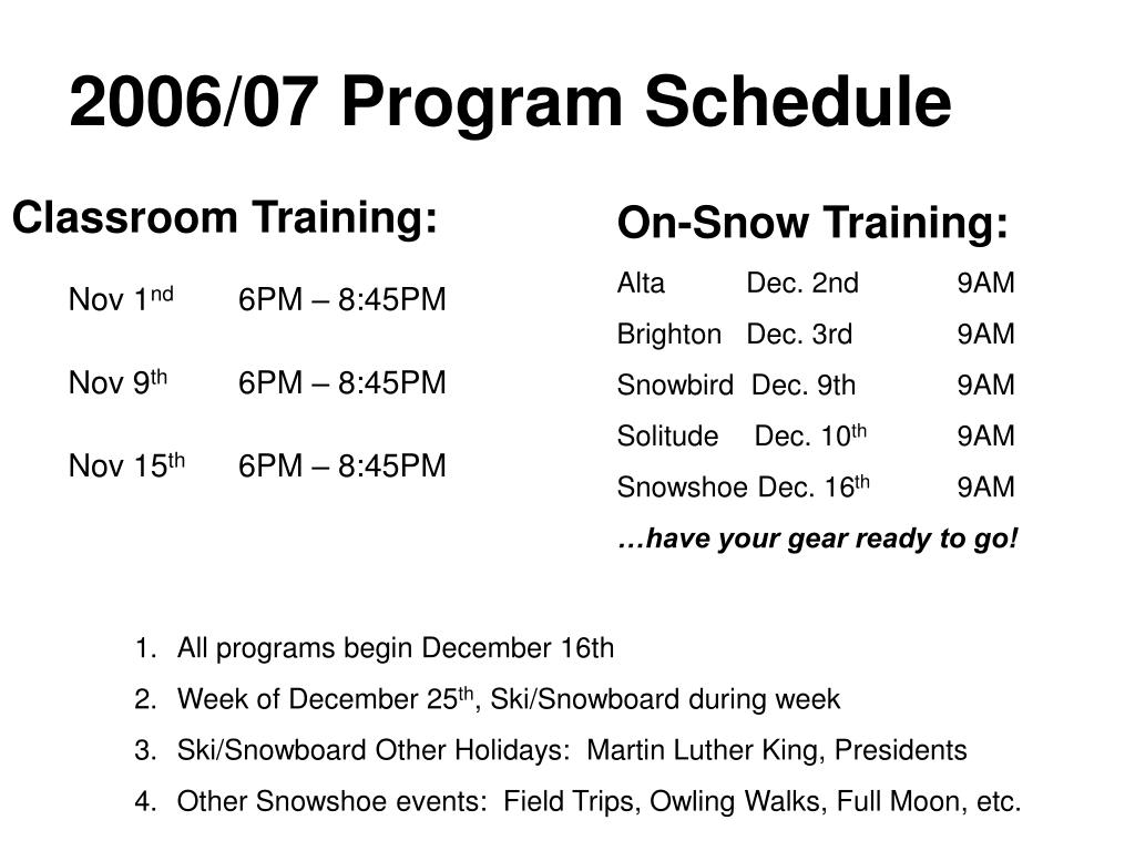 2006/07 Program Schedule