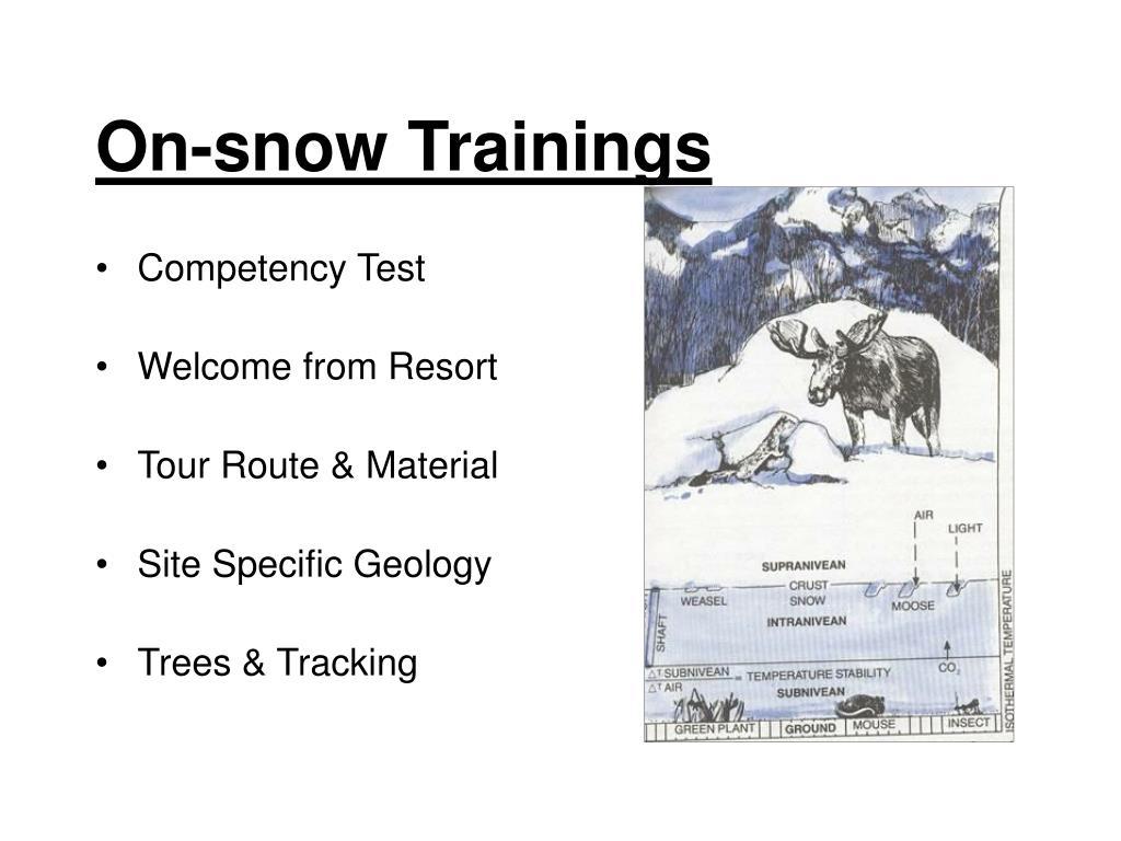 On-snow Trainings