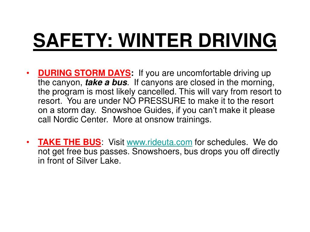 SAFETY: WINTER DRIVING