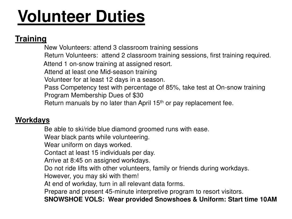 Volunteer Duties