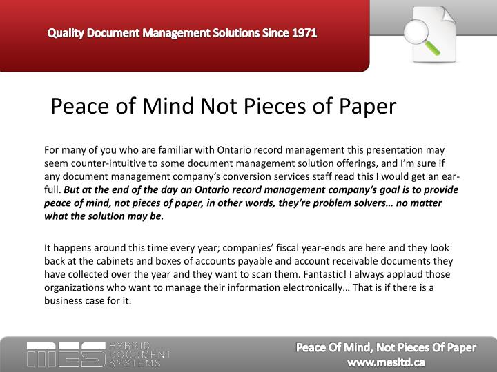 Peace of mind not pieces of paper