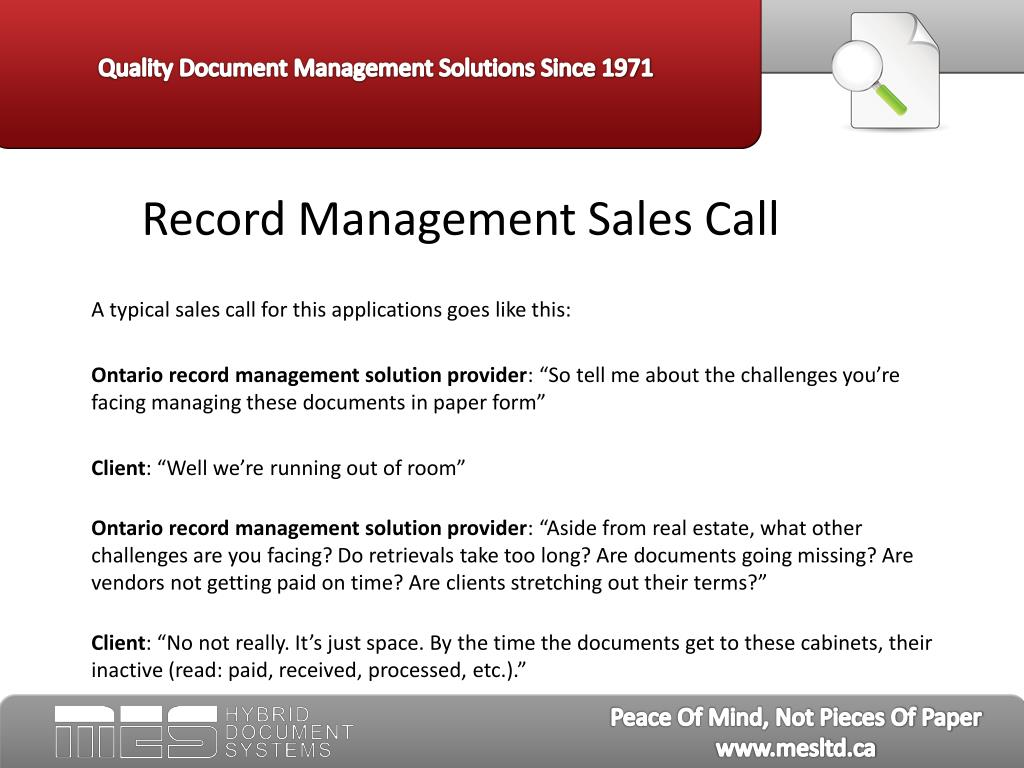 Record Management Sales Call
