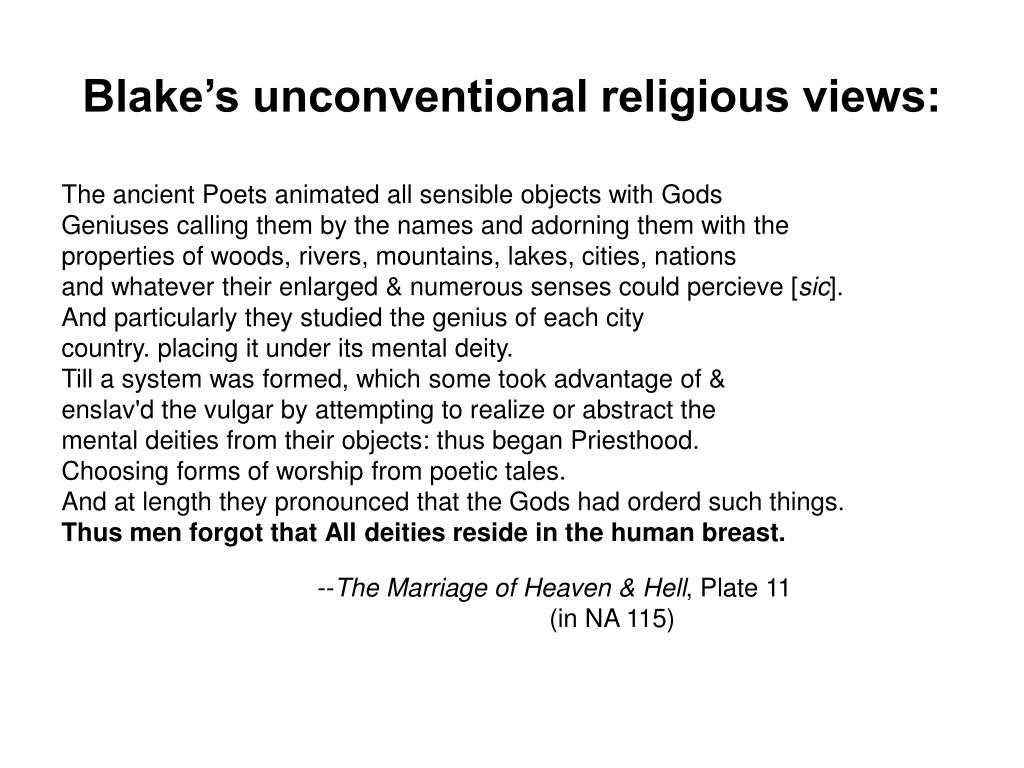 Blake's unconventional religious views: