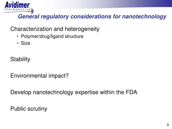 General regulatory considerations for nanotechnology