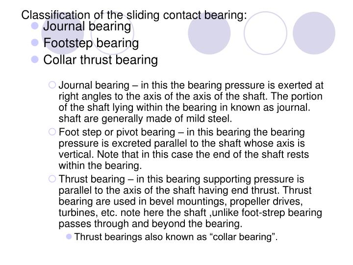 Classification of the sliding contact bearing: