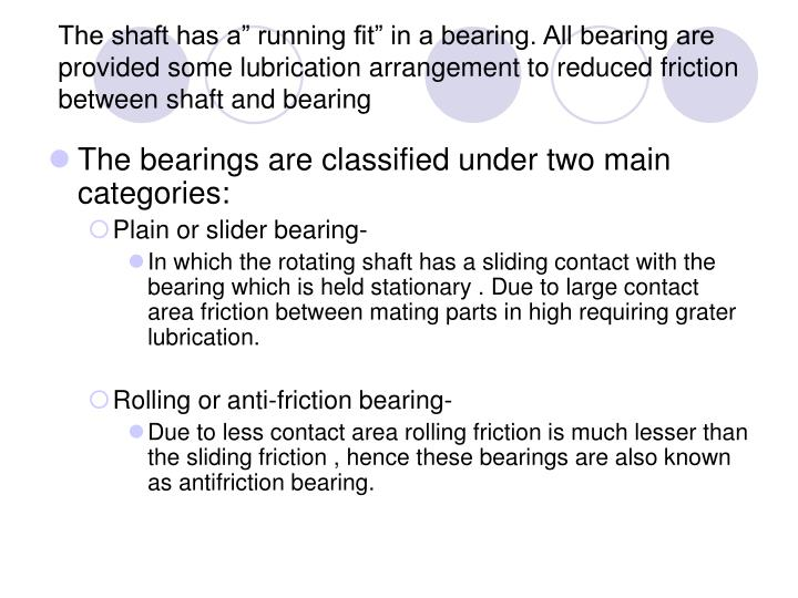 "The shaft has a"" running fit"" in a bearing. All bearing are provided some lubrication arrangement to reduced friction between shaft and bearing"