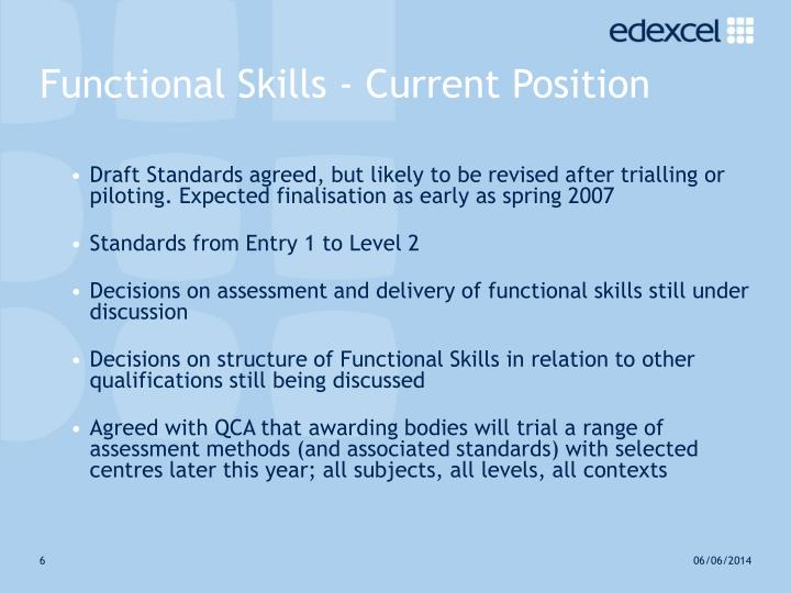 Functional Skills - Current Position