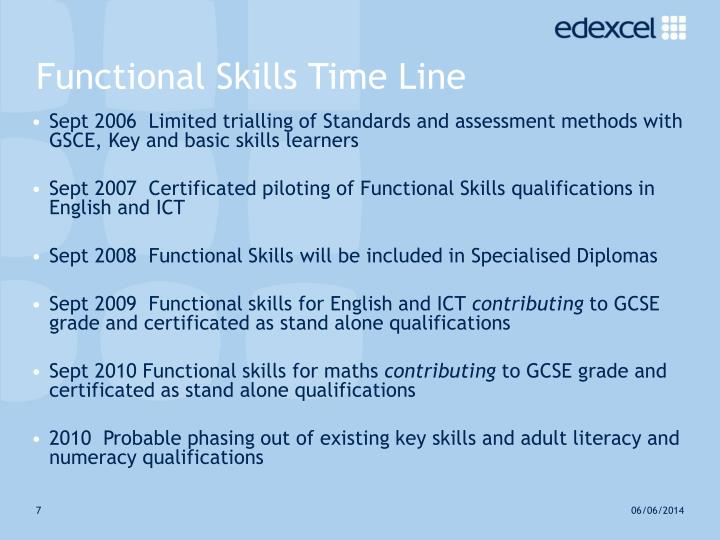 Functional Skills Time Line