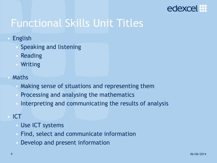 Functional Skills Unit Titles