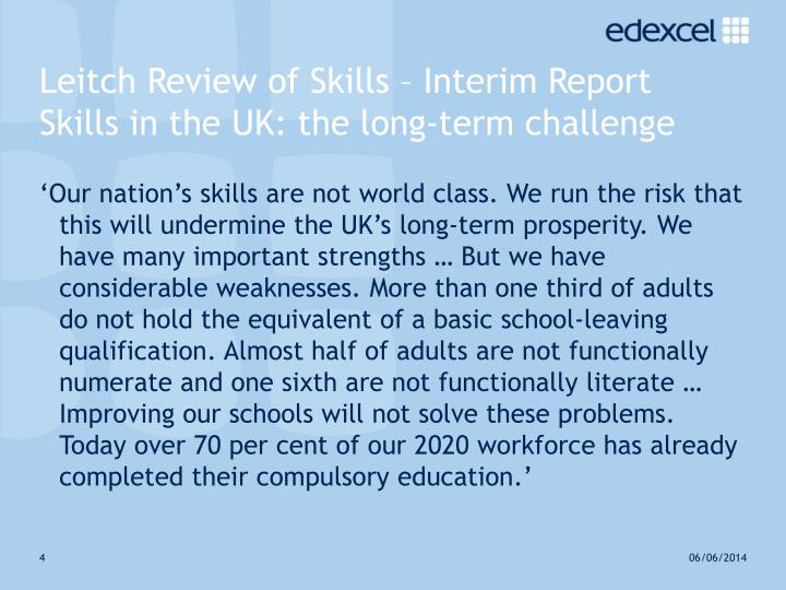 Leitch Review of Skills – Interim Report