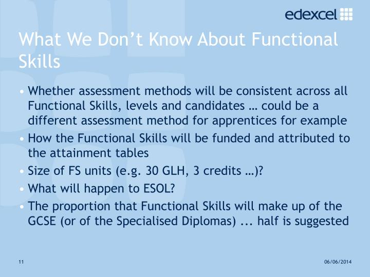 What We Don't Know About Functional Skills