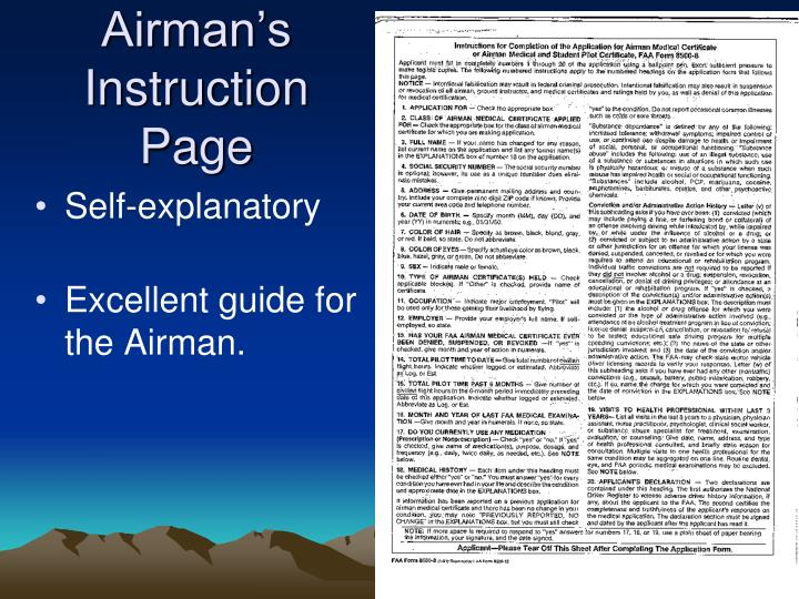 Airman's Instruction Page