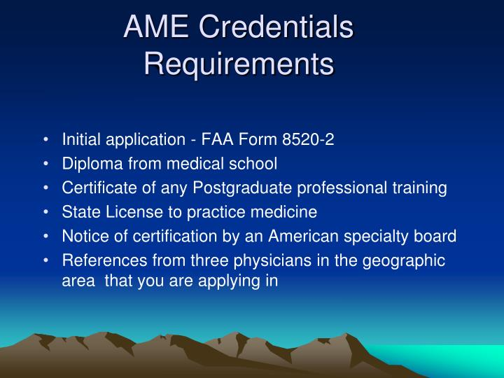 AME Credentials Requirements