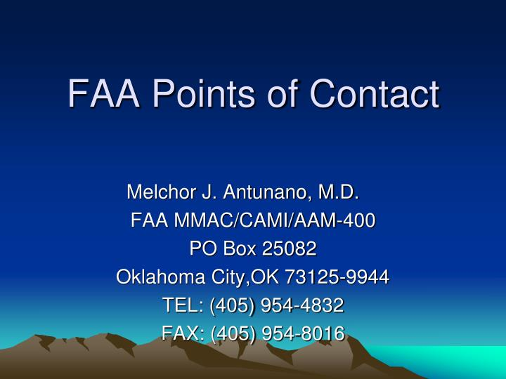 FAA Points of Contact