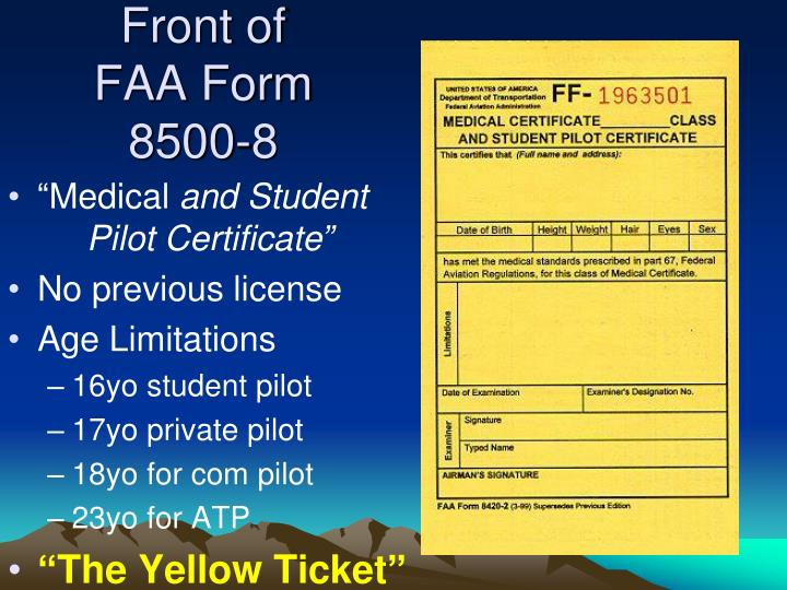 Front of FAA Form 8500-8