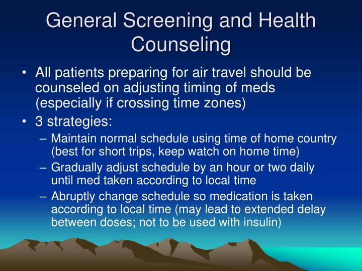 General Screening and Health Counseling