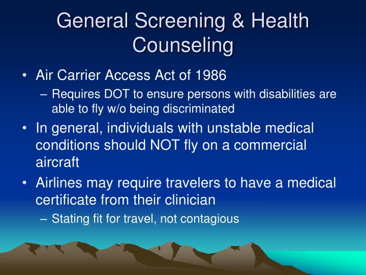 General Screening & Health Counseling