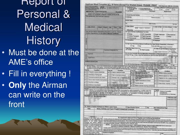 Report of Personal & Medical History