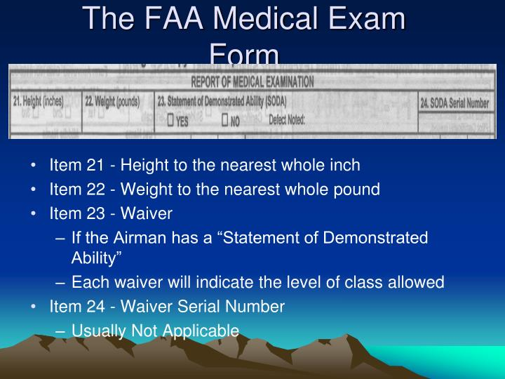 The FAA Medical Exam Form