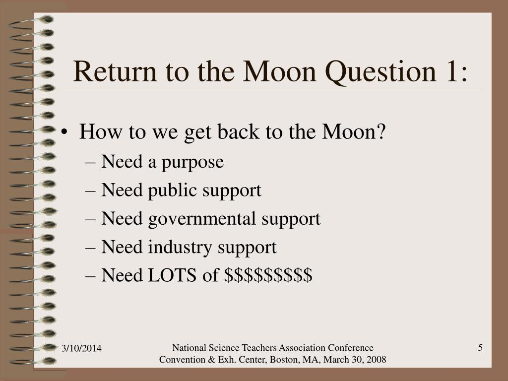 Return to the Moon Question 1: