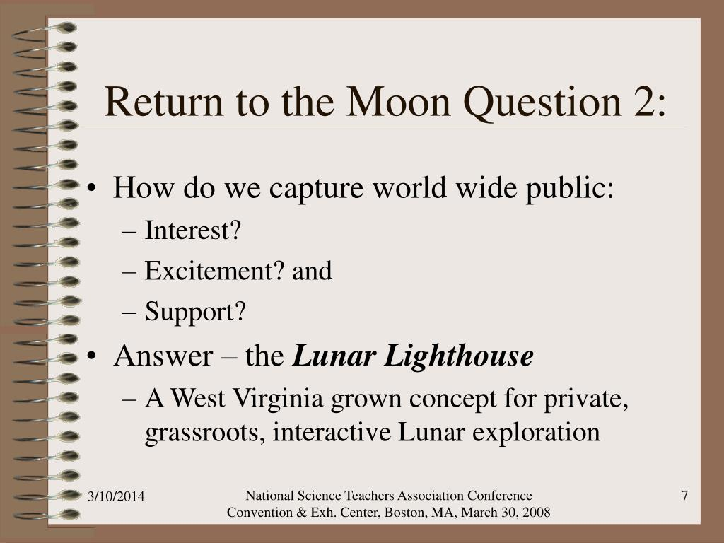 Return to the Moon Question 2: