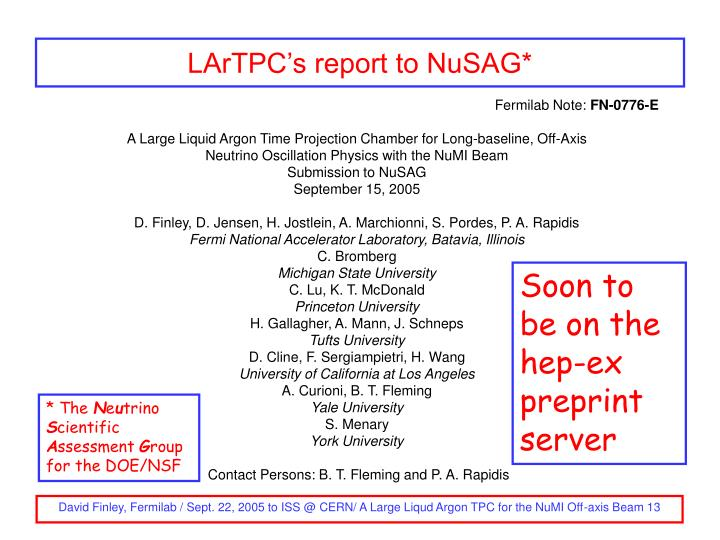 LArTPC's report to NuSAG*