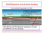 numi beamline and surface building