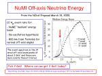 numi off axis neutrino energy