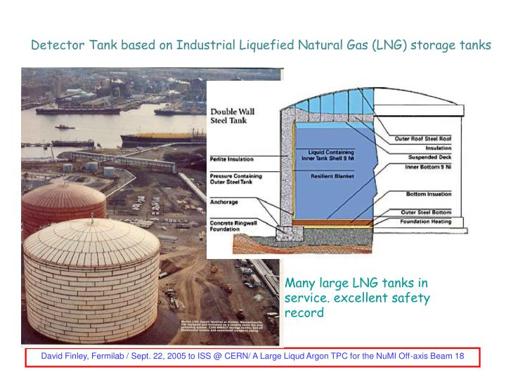 Detector Tank based on Industrial Liquefied Natural Gas (LNG) storage tanks