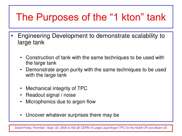 "The Purposes of the ""1 kton"" tank"