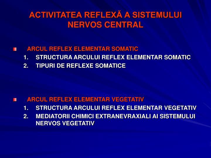 ACTIVITATEA REFLEXĂ A SISTEMULUI NERVOS CENTRAL