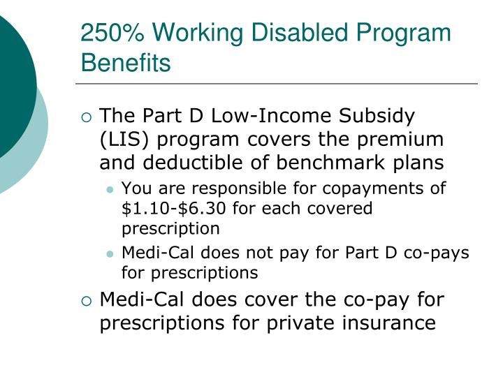 250% Working Disabled Program Benefits