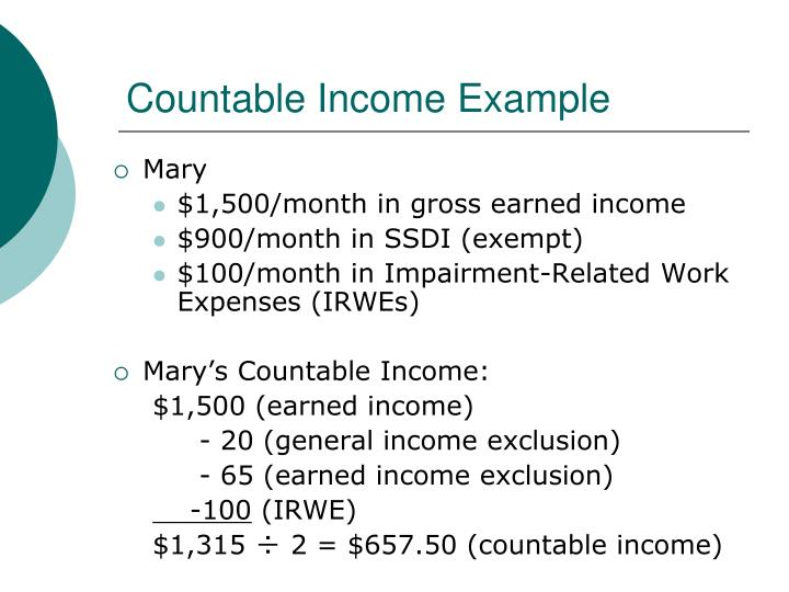 Countable Income Example