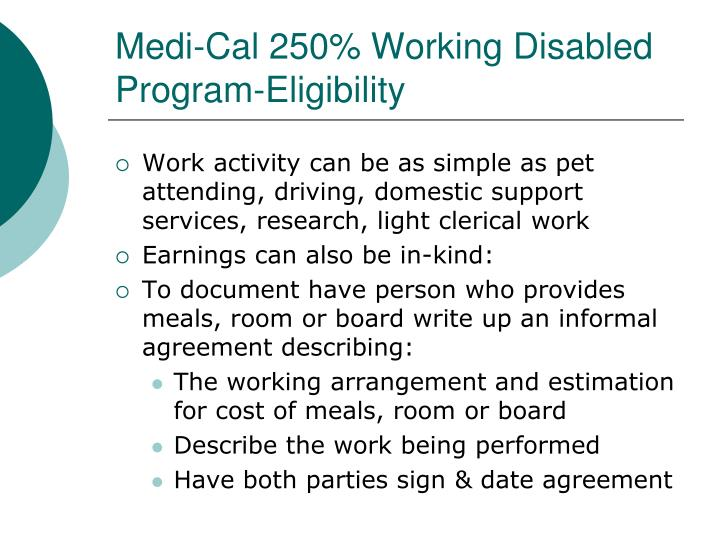 Medi-Cal 250% Working Disabled Program-Eligibility
