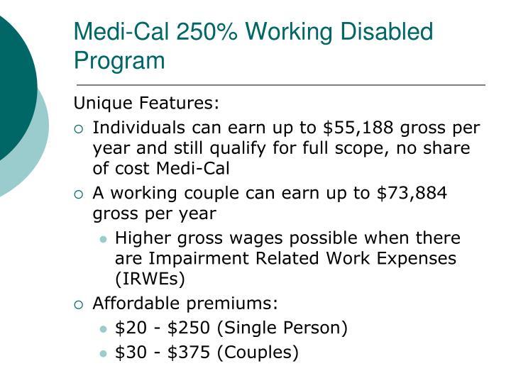 Medi-Cal 250% Working Disabled Program