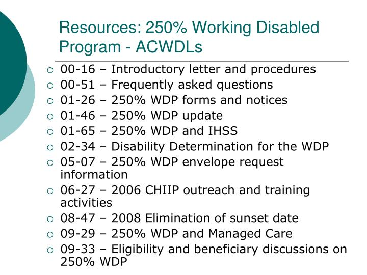 Resources: 250% Working Disabled Program - ACWDLs