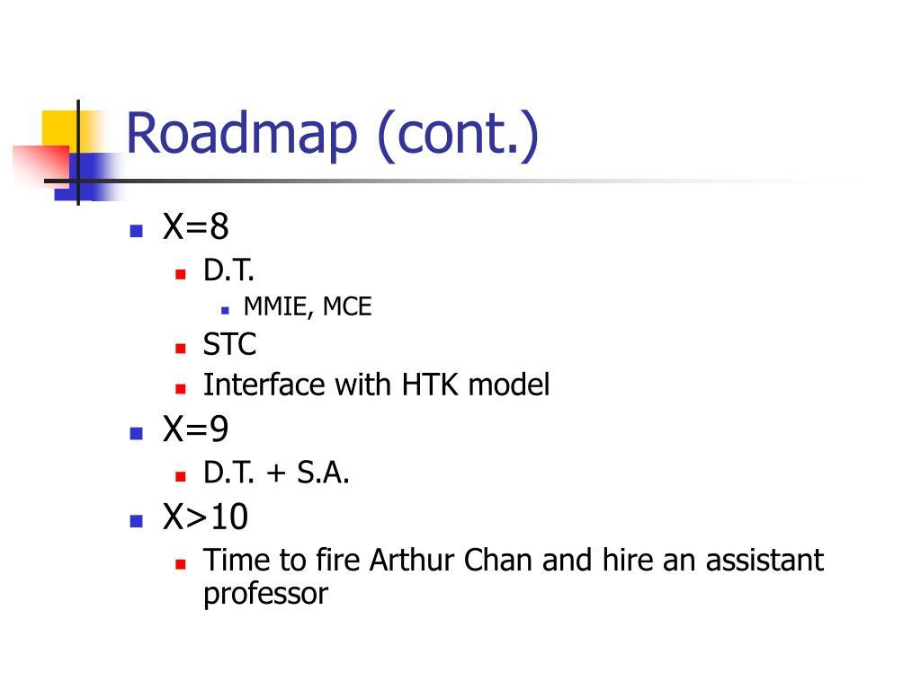 Roadmap (cont.)