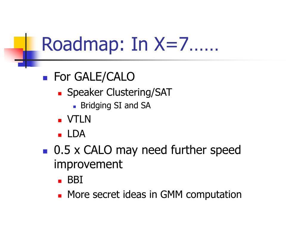 Roadmap: In X=7……