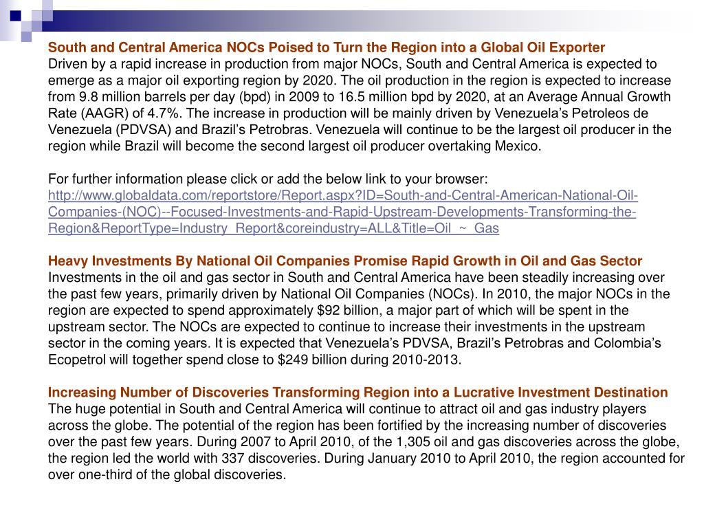 South and Central America NOCs Poised to Turn the Region into a Global Oil Exporter