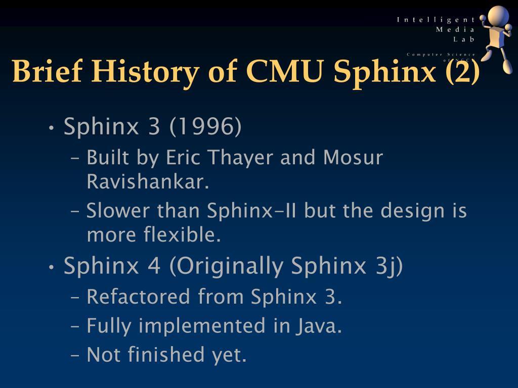 Brief History of CMU Sphinx (2)