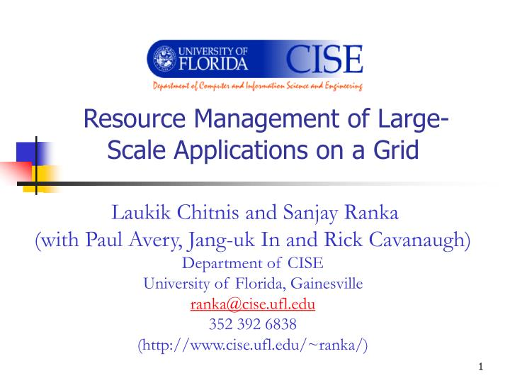 Resource management of large scale applications on a grid