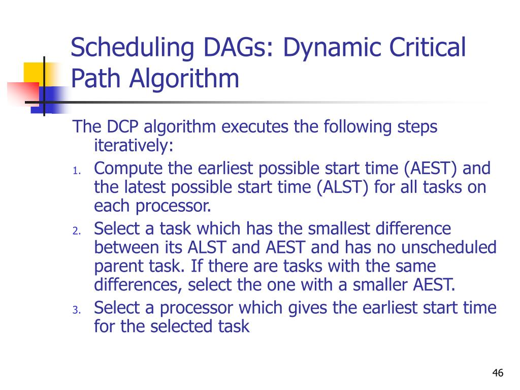 Scheduling DAGs: Dynamic Critical Path Algorithm